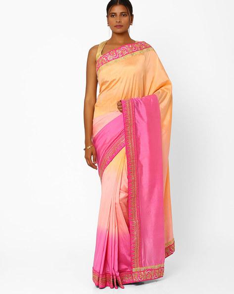 Ombre Silk Georgette Designer Saree By RCPC ( Coral )