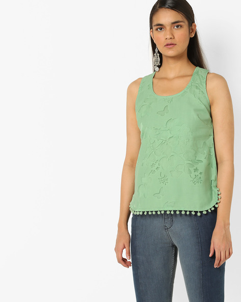 Top With Cut-Out Detail By AJIO ( Green )