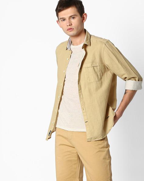 Slim Fit Linen Shirt By NETPLAY ( Khaki )