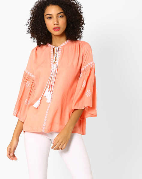 Embroidered Top With Bell Sleeves By Rena Love ( Peach )
