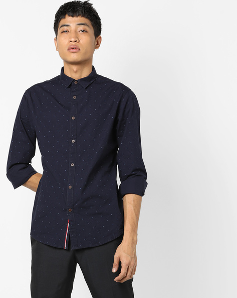 Polka-Dot Button-Down Collar Shirt By AJIO ( Navy )