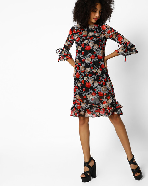 Floral Print Dress With Ruffles By Femella ( Black )