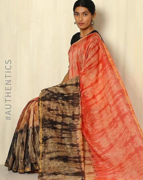 Shibori Tie & Dye Chanderi Saree With Zari Border By Indie Picks ( Multi ) - 460053722001