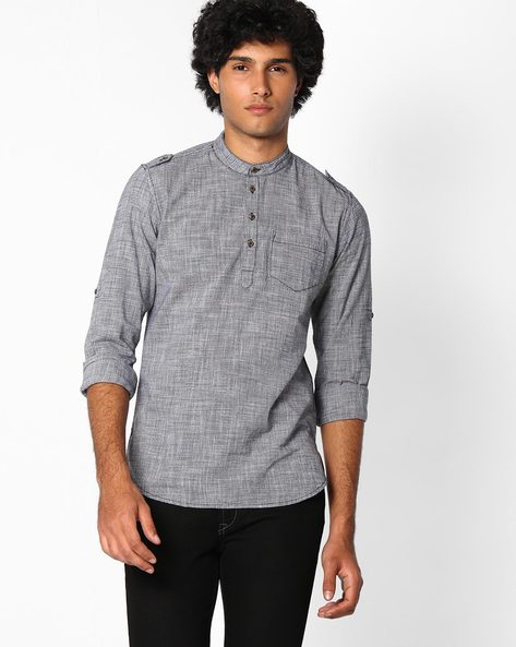 Houndstooth Slim Fit Shirt By The Indian Garage Co ( Black )