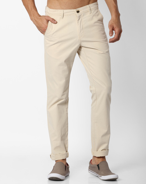 Mid-Rise Tapered Fit Chinos By NETPLAY ( Stone )