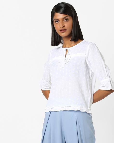 Schiffli-Embroidered Top With Tie-Up By AJIO ( White )