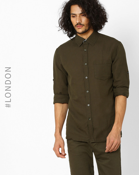 Linen Shirt With Patch Pocket By Marks & Spencer ( Lightgreen )
