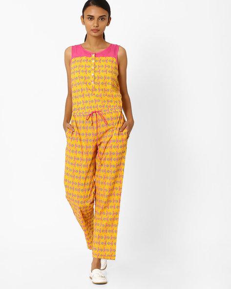 Printed Sleeveless Jumpsuit By Jiyaa ( Yellow )