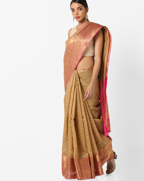 Banarasi Woven Saree With Contrast Border By Parmita ( Beige )