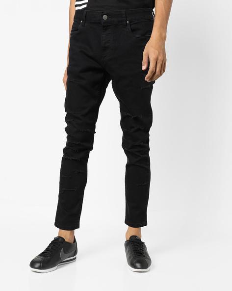 Distressed Skinny Jeans By Blue Saint ( Black )