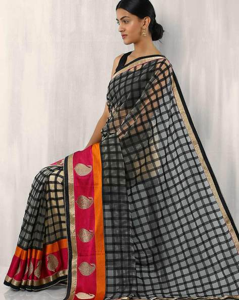 Net Check Embroidered Saree With Paisley Border By Rudrakaashe-MSU ( Lightblue )