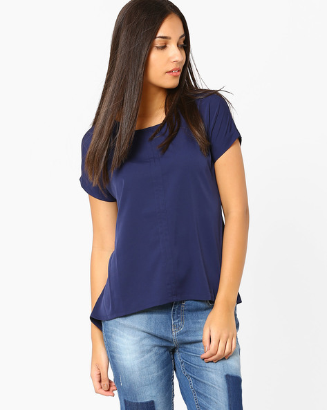 Asymmetrical Top With Tie-Ups By AJIO ( Navyblue )