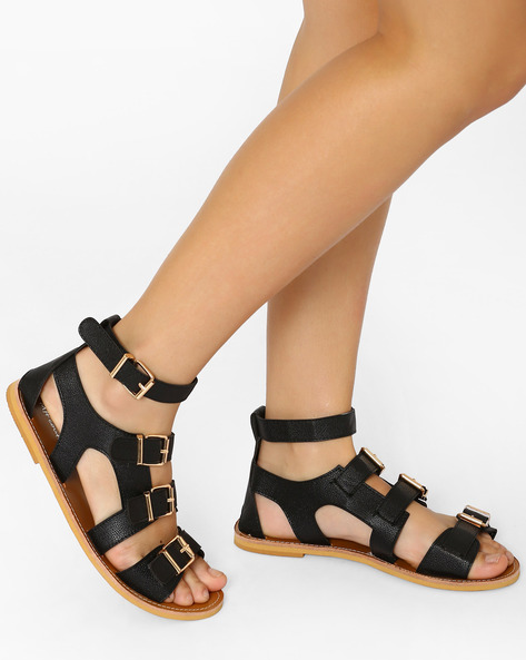 Strappy Flat Sandals By MFT Couture ( Black )