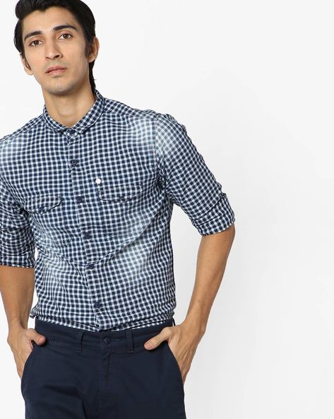 Checked Shirt With Faded Effect By SPYKAR ( Indigo )
