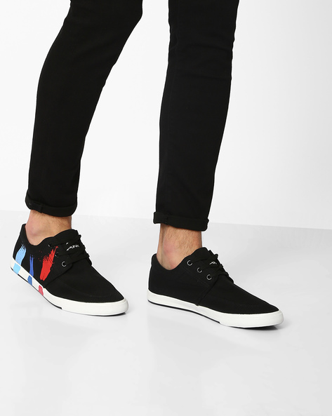 Pulse Printed Lace-Up Sneakers By Spunk ( Black )
