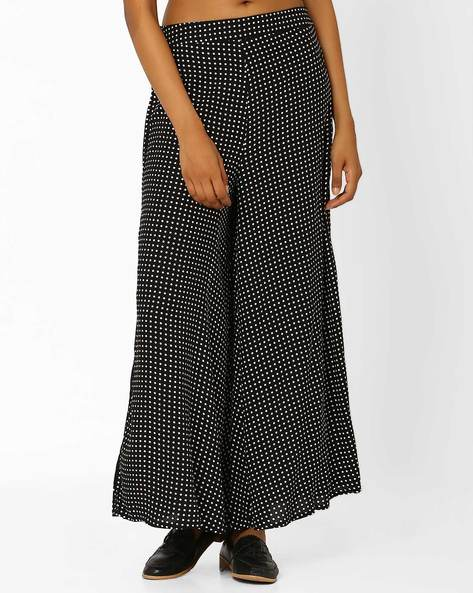 Relaxed Fit Palazzo Pants With Polka Dot Print By W ( Black )