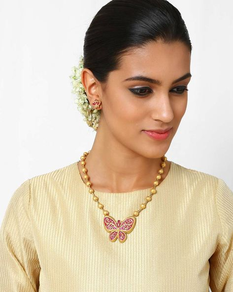 Handmade Terracotta Necklace Set By Kalamayi ( Gold ) - 460017050001