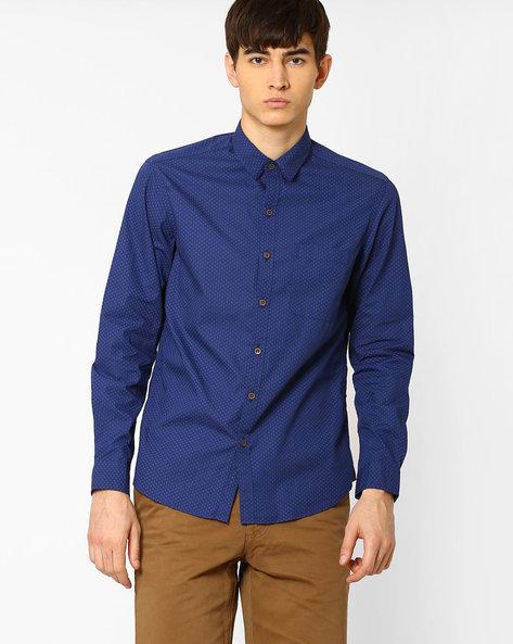 Printed Slim Fit Shirt By JOHN PLAYERS ( Blue ) - 440735741002