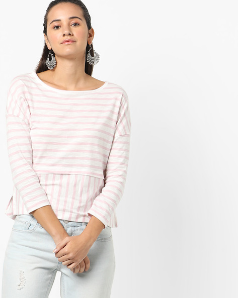 Striped Top With Drop Shoulders By AJIO ( Pink )