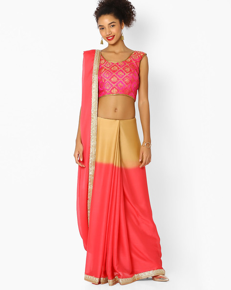 Ombre-Dyed Saree With Contrast Border By Majestic Silk ( Pink )