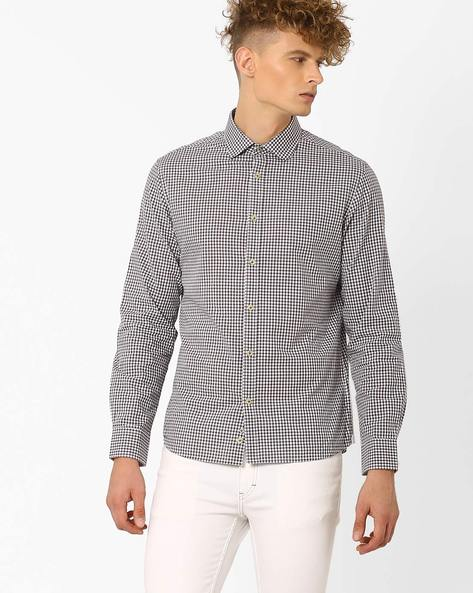 Checked Slim Fit Shirt By Celio ( Lightbrownblack )