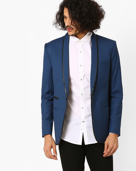 Slim Fit Blazer With Shawl Lapel By MR.BUTTON ( Teal )