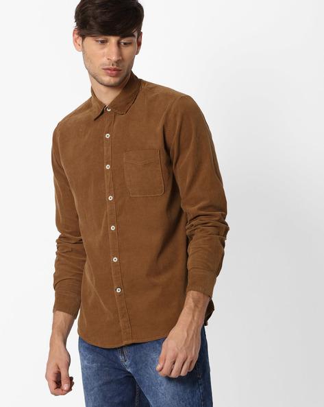 Regular Fit Cotton Shirt By NETPLAY ( Beige )