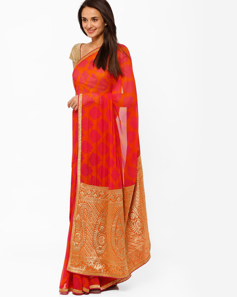 Printed Saree By Brijraj ( Cream )