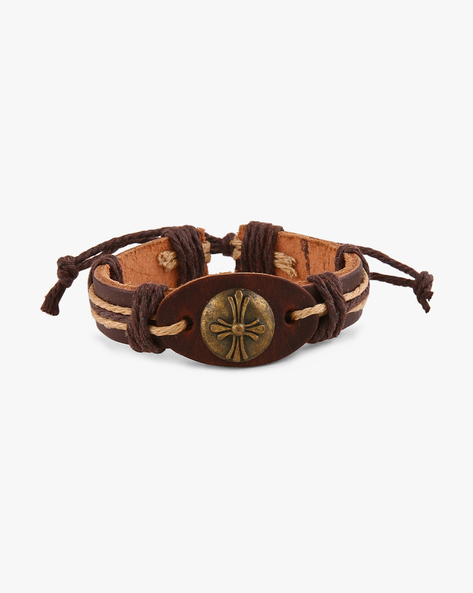 Faux-Leather Bracelet By ALPHA MAN ( Brown )