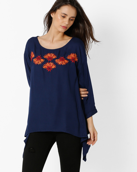 Full-Sleeve Top With Embroidery By Global Desi ( Blue )
