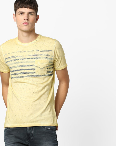 Speckle Print Crew-Neck T-shirt With Washed Effect By Killer ( Yellow )
