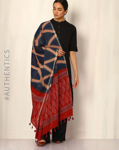 Ajrak Handblock Print Shibori Cotton Dupatta By Indie Picks ( Indigo ) - 460045106001