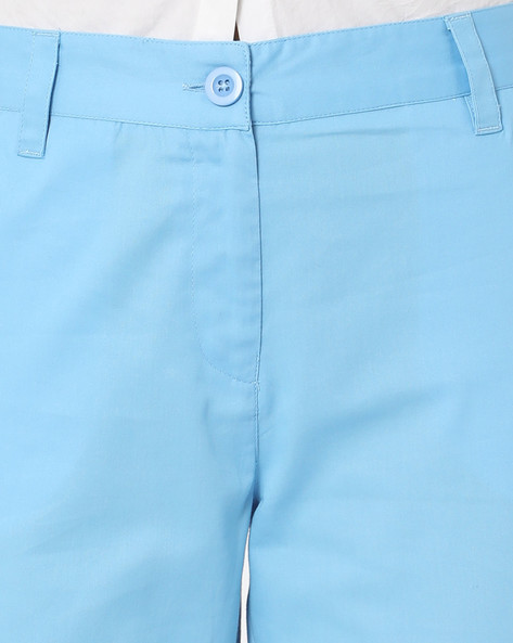 Flat-Front Trousers With Contrast Side Panels By AJIO ( Blue )