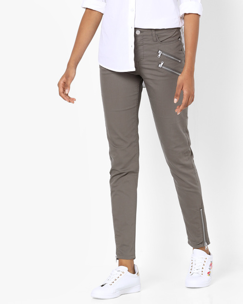 Trousers With Zip Detail By SAINT TROPEZ ( Green )