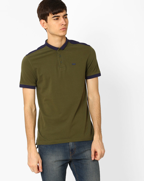 High-Low T-shirt With Slim Polo Collar By LEVIS ( Green )