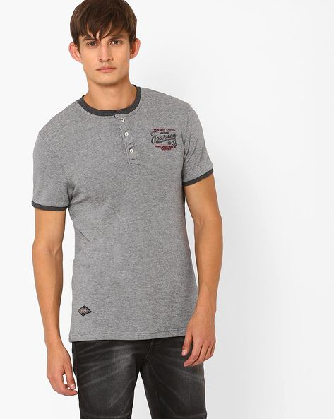 Regular Fit Henley T-shirt By TEAM SPIRIT ( Greymelange )