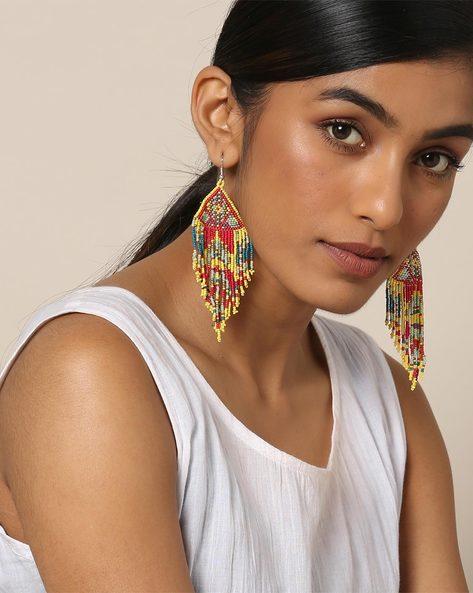 Statement Beaded Dangler Earrings By Indie Picks ( Multicolour )