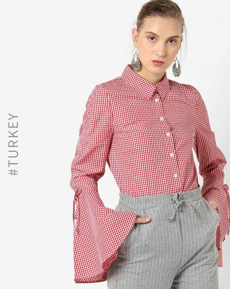 Checked Shirt With Bell Sleeves By TRENDYOL ( Red )