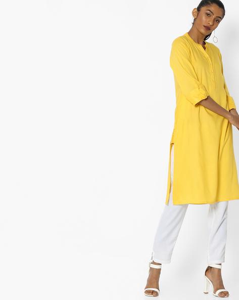 Straight Kurta With Roll-Tab Sleeves By AVAASA WORKWEAR ( Mustard )