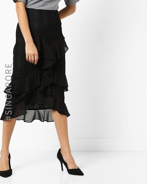 Ruffled Skirt With Asymmetrical Hemline By MDS ( Black )