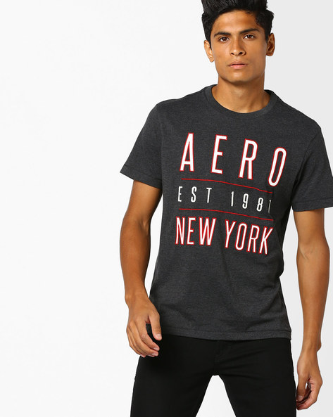Crew-Neck T-shirt With Text Embroidery By Aeropostale ( Black )
