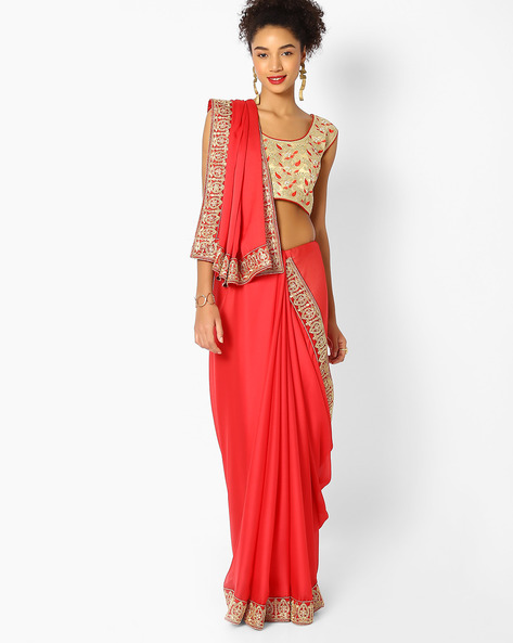 Woven Saree With Embroidered Border By Majestic Silk ( Red )