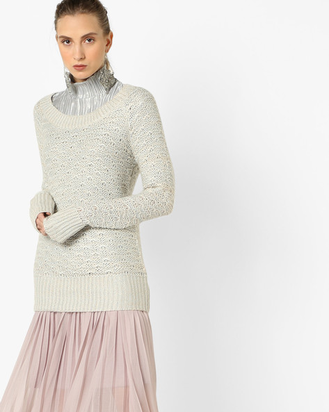 Knitted Off-Shoulder Pullover By CODE By Lifestyle ( Beige )
