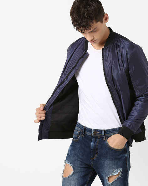 Front-Zipper Jacket With Ribbed Hems By Jack & Jones ( Blue )