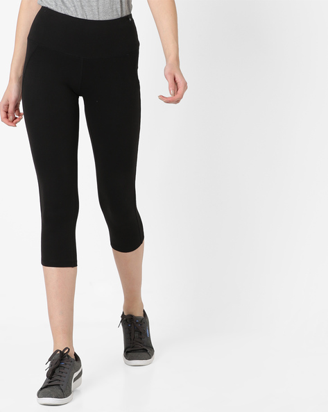Capri Leggings With Elasticated Waist By SATVA ( Black )