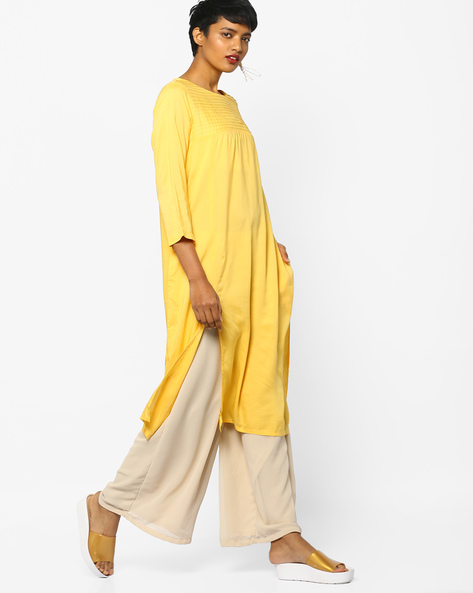 Straight Kurta With Pintucks By PE IW Casual ( Yellow )