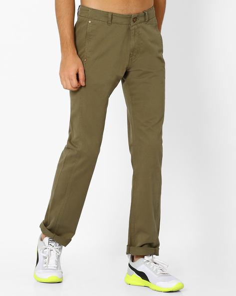 Overdyed Regular Fit Utility Trousers By AJIO ( Olive )