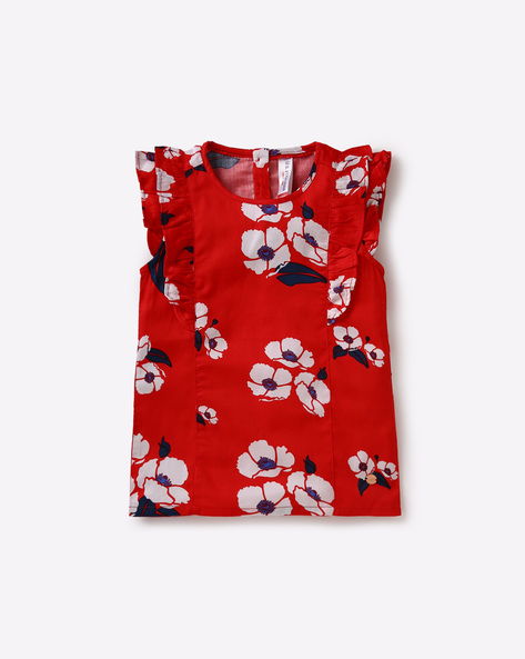 Floral Print Top With Panels By USPA ( Red )