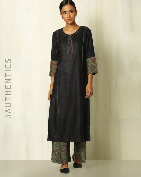 Tussar Cotton Kurta With Tanka And Handblock Print Ajrak Trims By Indie Picks ( Blue ) - 460080504003
