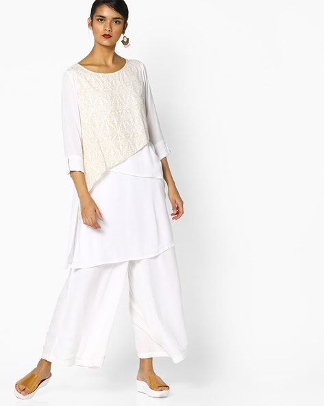 Printed Tunic With Overlapping Layers By PE IW Fusion ( White )